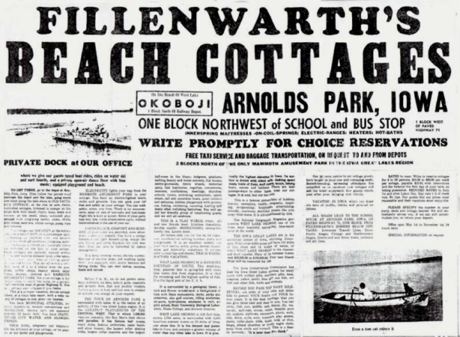 Fillenwarth's Beach Cottages advertisement from 1930.
